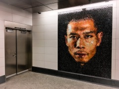 Mosaic portrait of the artist Zhang Huan